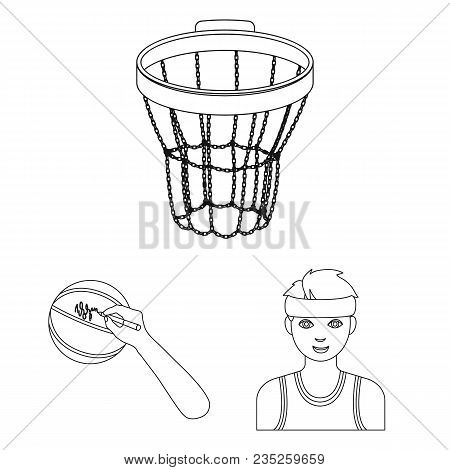 Basketball And Attributes Outline Icons In Set Collection For Design.basketball Player And Equipment