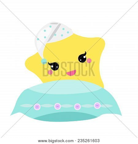 Cute Baby Star With Pillow In Hight Hat. Vector Illustration For Nursery Design. Good Night, Sweet D