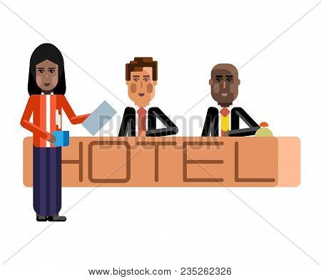 European And African Receptionists At Hotel Reception Desk And Indian Secretary With Coffee Cup. Cor