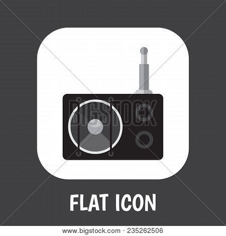 Vector Illustration Of Technology Symbol On Radio Icon Flat. Premium Quality Isolated Tuner Element