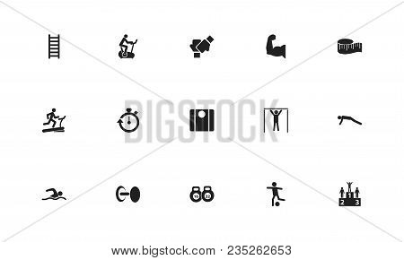 Set Of 15 Editable Lifestyle Icons. Includes Symbols Such As Measure Tape, Man On Treadmill, Push Up