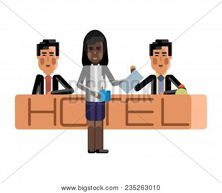 Asian Receptionists At Hotel Reception Desk And African Secretary With Coffee Cup. Corporate Multicu