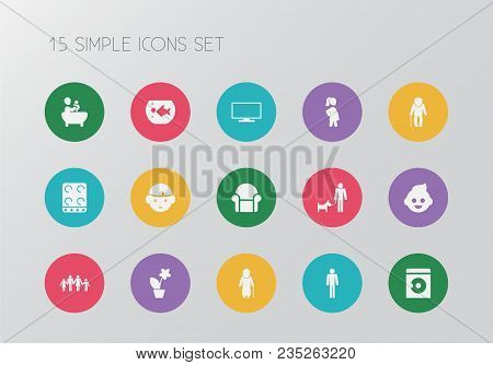 Set Of 15 Editable Family Icons. Includes Symbols Such As Male, Computer, Armchair And More. Can Be