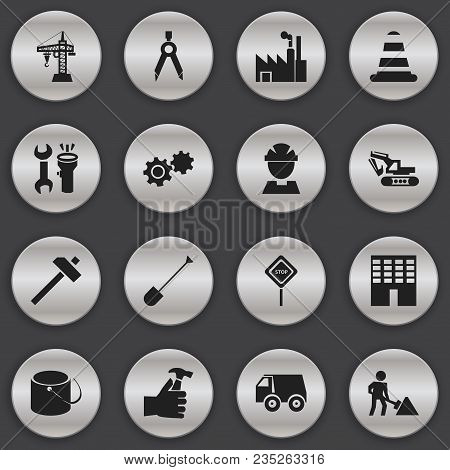 Set Of 16 Editable Building Icons. Includes Symbols Such As Wrench With Flashlight, Handle Hit, Buil