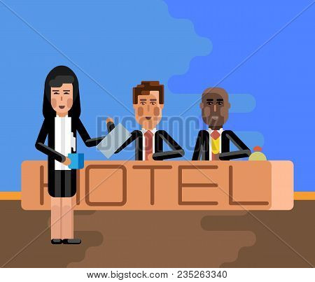 European And African Receptionists At Hotel Reception Desk And Asian Secretary With Coffee Cup. Corp