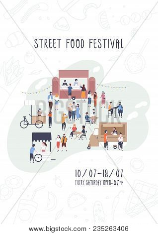 Flyer, Invitation Or Poster Template For Summer Street Food Festival With People Walking Between Van