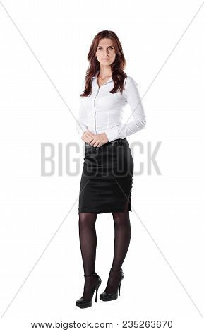 In Full Growth.executive Business Woman .isolated On White Background.