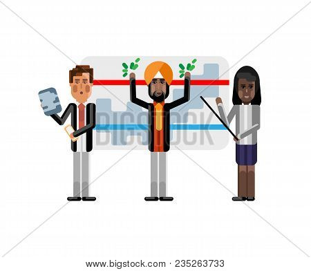 Multiethnic Business Staff Doing Presentation Near Whiteboard With Financial Diagram. Corporate Mult