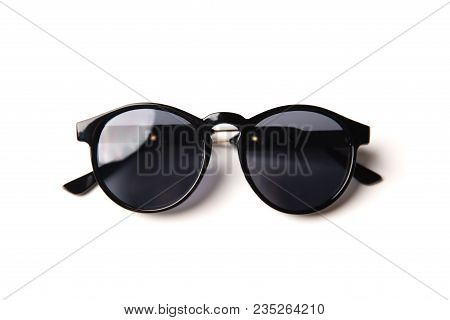 Stylish Black Glasses Isolated On White Background, Top View