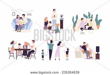 Family Members Spending Time Together At Home. Mother, Father And Children Reading Book, Decorating