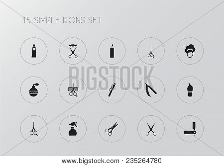 Set Of 15 Editable Barbershop Icons. Includes Symbols Such As Cut Tool, Sharp, Shear And More. Can B