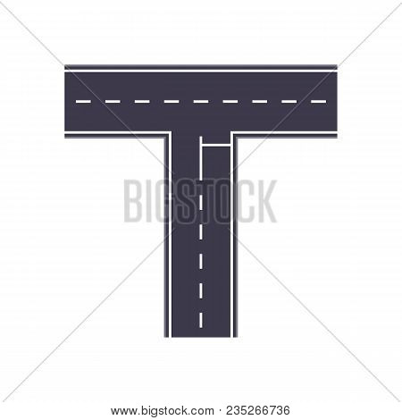 City Intersection Road Isolated Map Segment. Auto Traffic Element, Highway Construction Vector Illus