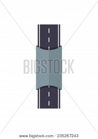 City Road With Tunnel Isolated Map Segment. Auto Traffic Element, Highway Construction Vector Illust