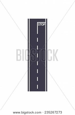 City Road With Stop Sign Isolated Map Segment. Auto Traffic Element, Highway Construction Vector Ill