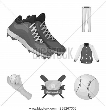 Baseball And Attributes Monochrome Icons In Set Collection For Design.baseball Player And Equipment