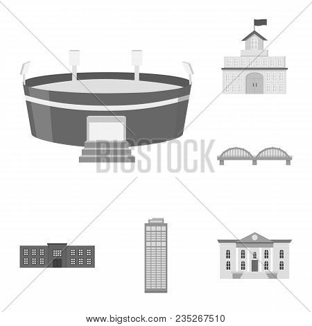 Building And Architecture Monochrome Icons In Set Collection For Design. Construction And Institutio