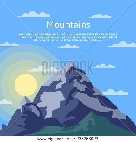 Mountaineering And Alpine Tourism Banner. Nature Landscape With Ice Mountain Range And Space For Tex