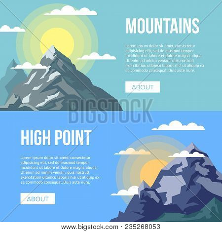 Mountaineering Agency Flyers With High Peaks. Nature Landscape With Ice Mountain Range And Space For