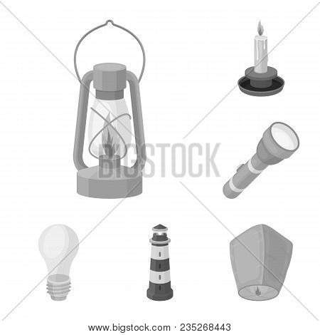 Light Source Monochrome Icons In Set Collection For Design. Light And Equipment Vector Symbol Stock