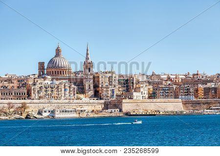 Valletta, Malta - March 30, 2018: Sea View Of Valletta City - The Capital Of Malta With Basilica Of