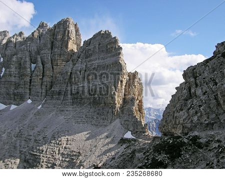 Landscape: Sexten Dolomites. View On The Paek Near The Tre Cimes.