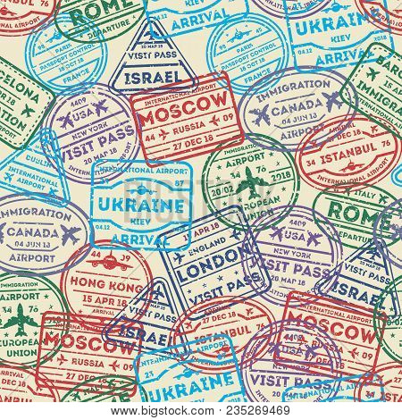 Seamless Pattern With Visa Rubber Stamps On Passport. Barcelona, France, Moscow, Hong Kong, Canada,