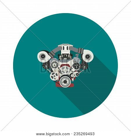 Flat Internal Combustion Engine Icon In Vector Format