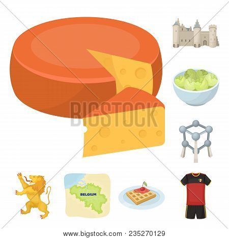 Country Belgium Cartoon Icons In Set Collection For Design.travel And Attractions Belgium Vector Sym