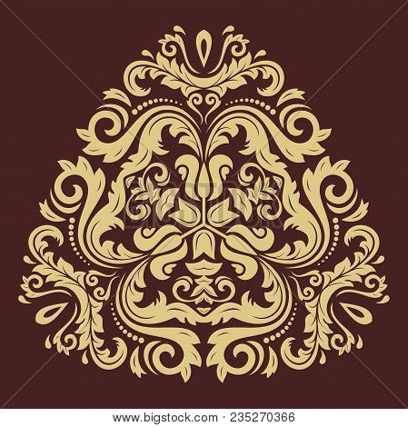 Oriental Triangular Golden Pattern With Arabesques And Floral Elements. Traditional Classic Ornament