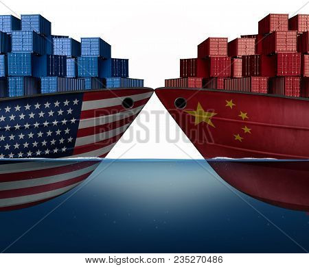 China United States Trade War And American Tariffs Or Chinese Tariff As Two Cargo Ships As An Econom