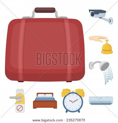 Hotel And Equipment Cartoon Icons In Set Collection For Design. Hotel And Comfort Vector Symbol Stoc