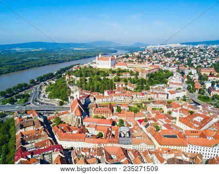 Bratislava Castle Or Bratislavsky Hrad And St. Martin Cathedral Aerial Panoramic View. Bratislava Is