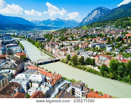 Inns River And Innsbruck City Centre Aerial Panoramic View. Innsbruck Is The Capital City Of Tyrol I