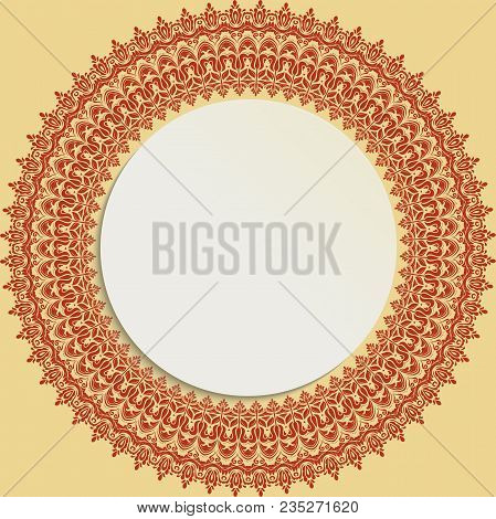 Round Frame With Floral Elements And Arabesques. Pattern With Arabesques. Fine Greeting Card