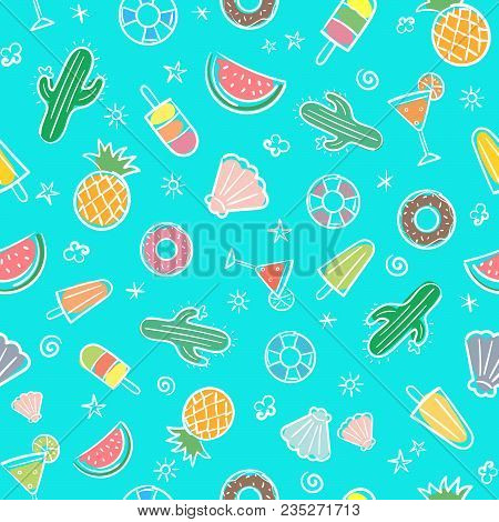 Cute Seamless Summer Pattern With Summer Elements Including Sea Wave, Pineapple, Cocktails, Cactus,