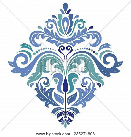 Oriental Sqaure Blue Pattern With Arabesques And Floral Elements. Traditional Classic Ornament. Vint