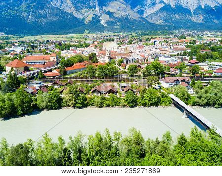 Hall In Tirol And Inn River Aerial Panoramic View, Austria. Hall In Tirol Is A Town In The Innsbruck
