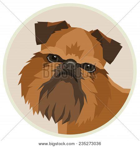 Dog Collection Griffon Bruxellois Geometric Style Avatar Icon Round Set