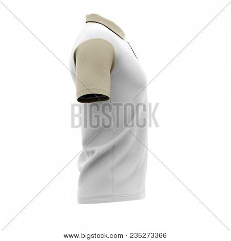 Men's polo shirt with short sleeves. Side view. 3d rendering. Clipping paths included: whole object, collar, sleeve, buttons.