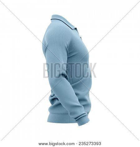 Men's zip neck pullover with raglan sleeves, rubber cuffs and collar. 3d rendering. Clipping paths included: whole object, collar, sleeve, zipper. Side view. poster