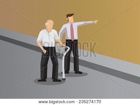 Kind Young Man Showing The Way To Elderly With Walking Aid. Vector Illustration For Helping And Kind