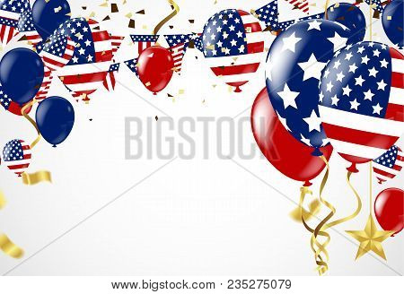 Fourth Of July. 4th Of July Holiday Banner.card Template, Badge With Red Ribbon And American Flag. V