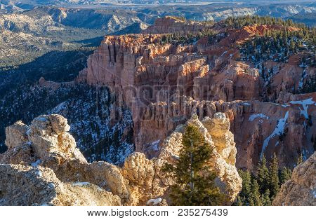 The Scenic Rugged Landscape Of Bryce Canyon National Park Utah In Winter