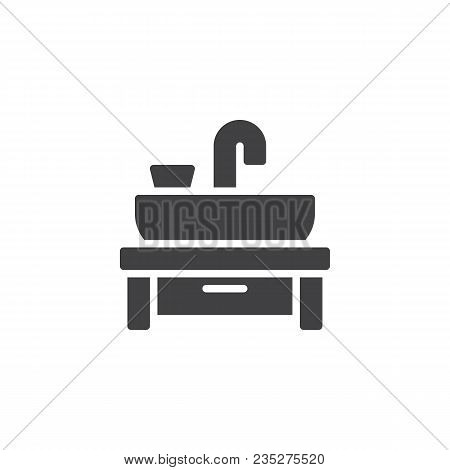 Wash Basin Vector Icon. Filled Flat Sign For Mobile Concept And Web Design. Sink Basin Faucet Simple