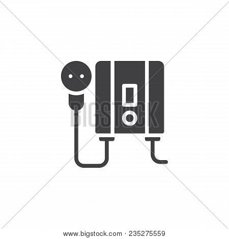 Electric Water Heater Vector Icon. Filled Flat Sign For Mobile Concept And Web Design. Home Electric