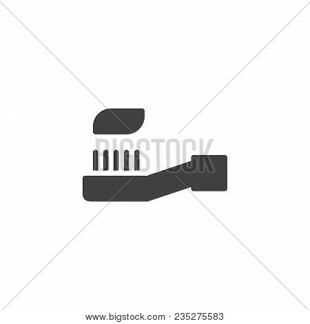 Toothbrush With Toothpaste Vector Icon. Filled Flat Sign For Mobile Concept And Web Design. Oral Hyg