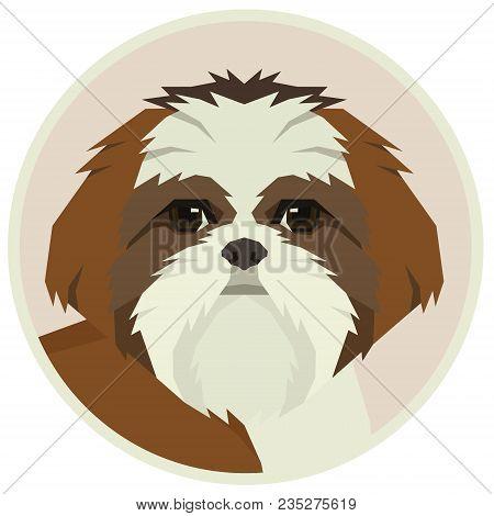 Dog Collection Shih Tzu Geometric Style Avatar Icon Round Set