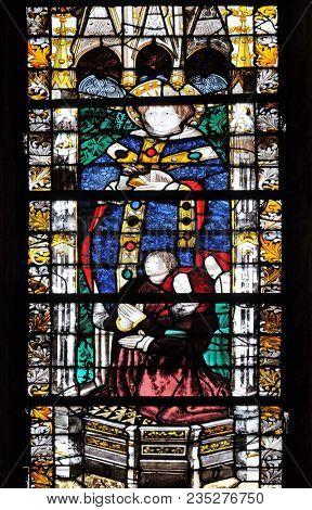 PARIS, FRANCE - JANUARY 04: Saint Severin, stained glass window in Saint Severin church in Paris, France on January 04, 2018.
