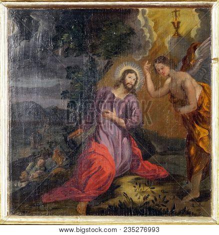 VELIKA MLAKA, CROATIA - MARCH 28: Agony in the Garden, Jesus in the Garden of Gethsemane, altarpiece in the Church of the Saint Barbara in Velika Mlaka, Croatia on March 28, 2017.