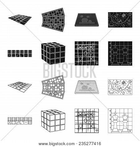 Board Game Black, Outline Icons In Set Collection For Design. Game And Entertainment Vector Symbol S